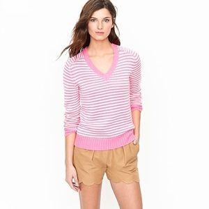 J. Crew neon pink beach stripe v-neck sweater
